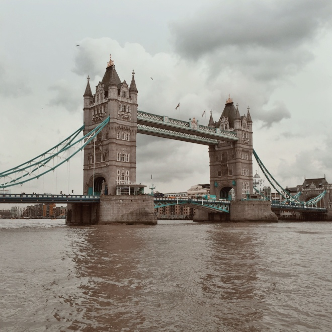 Tower Bridge, and a seriously brown river.