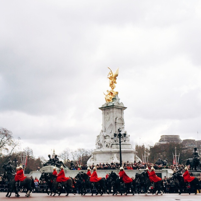 Changing of the Guard at Buckingham Palace.