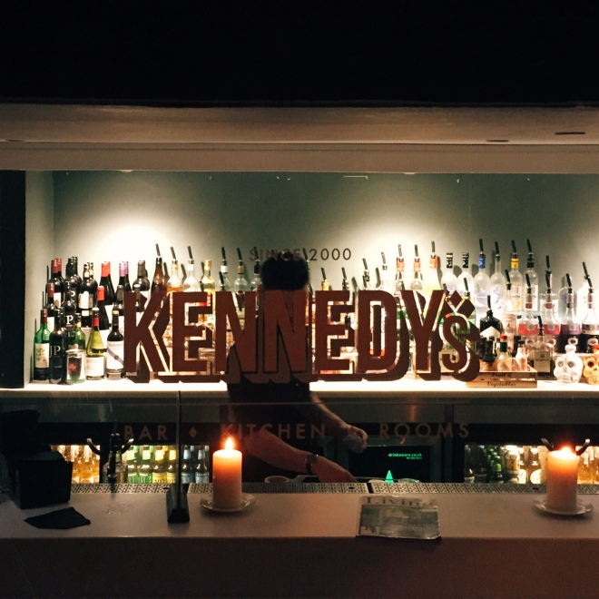 Kennedy's. Cheap cocktails, with 50% off food on Monday nights. Hello!