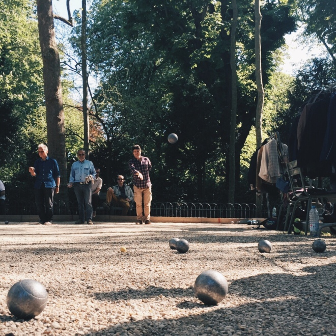 Some of the boys get together in the afternoon for a game of Bocce. It feels like Parisians are doing it right.
