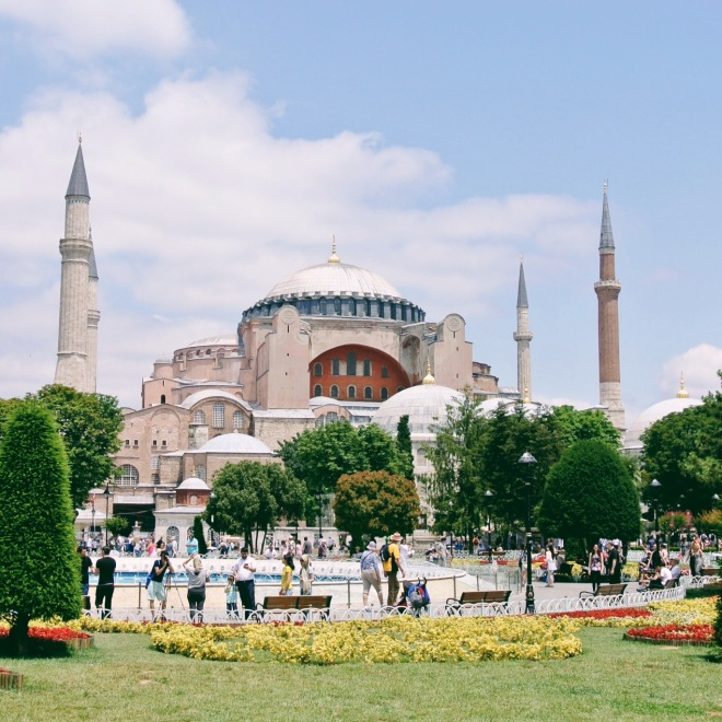 Hagia Sophia - Built as a church in 537 A.D., it was converted into a mosque in 1453. Since 1931, it's been a museum, and elements of both Christianity and Islam can be seen here.
